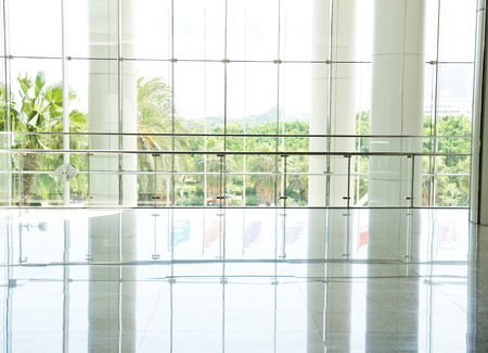bright center: modern interior with glass wall in an office building.