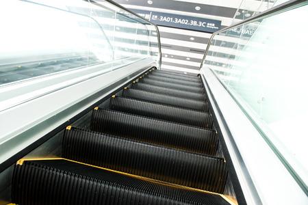 escalator in new modern building. Stock Photo