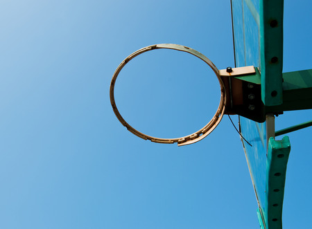 intramural: Basketball hoop against blue sky. Stock Photo
