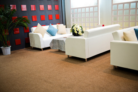 seating furniture: sofa and table at waiting room. Editorial
