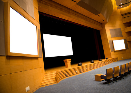 convention hall: interior of a conference hall with screen. Editorial