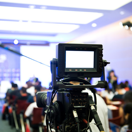 Live broadcasting, television operator with camera. Banco de Imagens - 33790190