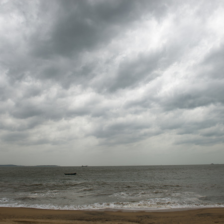 breaking wave: View of storm seascape with dark clouds.