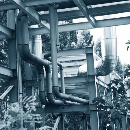 Steel pipelines in a industrial zone. photo