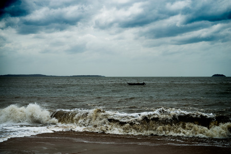 natural  moody: View of storm seascape with dark clouds.