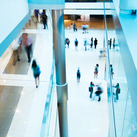 abstract building: People rushing in the lobby. motion blur Editorial