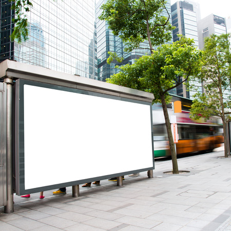 Blank billboard at a bus stop. Stock Photo