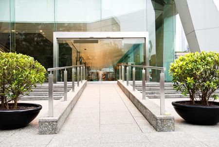 Glass door of modern office building.