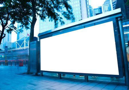 Blank billboard at a bus stop. Reklamní fotografie