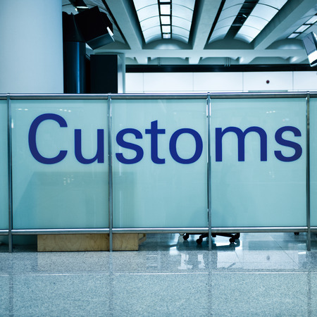 declare: Customs sign in the airport.