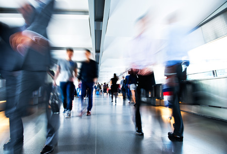 exhibitions: People rushing in the lobby. motion blur Stock Photo