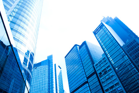 rise to the top: Modern business buildings, shot in hong kong, China.