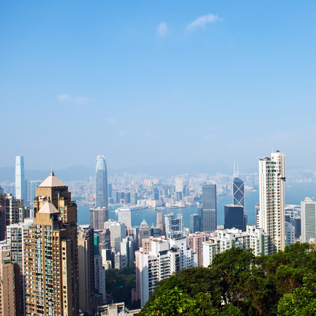 icc: Hong Kong cityscape with victoria harbour and large group of tall buildings.
