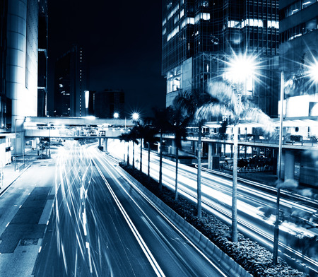 night traffic: traffic in modern city at night, Hong Kong. Stock Photo