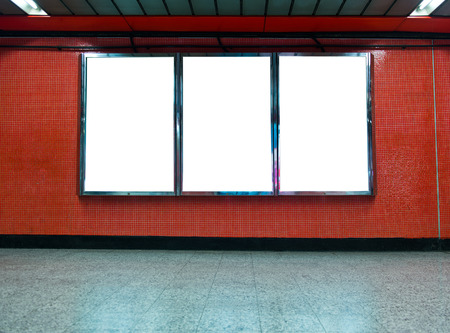 underground passage: Blank billboard at an underground passage.