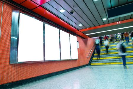 Blank billboard at an underground passage. photo