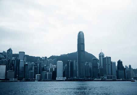 ifc: Beautiful scene of Hong Kong skyline, view along Victoria Harbor.