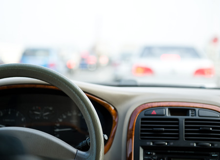 vehicle interior: Steering wheel in interior of a car.