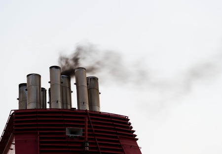 emission: smoke from the ship stacks Stock Photo