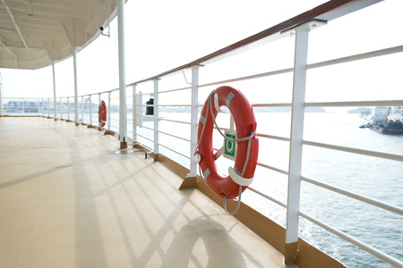 life buoy: Life buoy on the deck of cruise ship.
