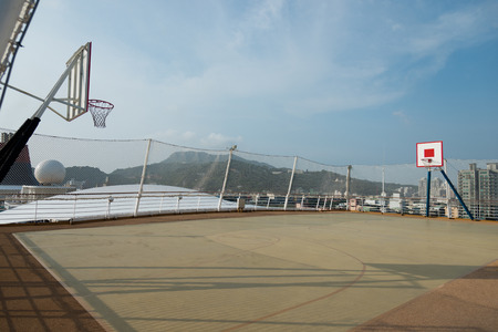 outside basketball court on the roof.