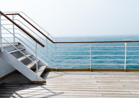 ship deck: Staircase in a big cruise ship. Stock Photo