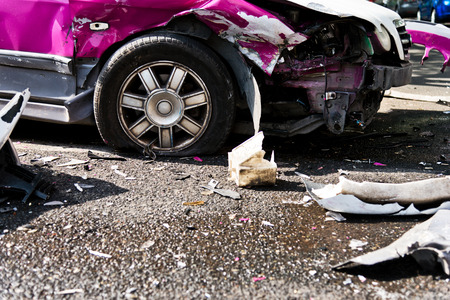 car accident on a city street.