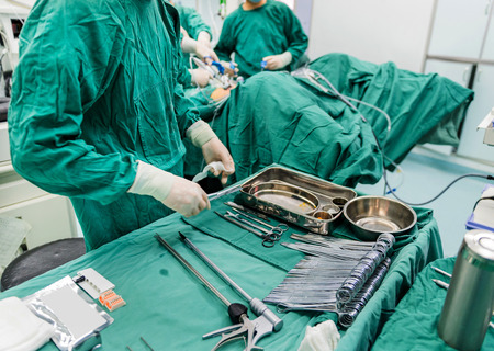 anesthetist: surgeons are operating in a hospital Stock Photo