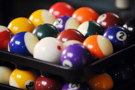 snooker balls: Group of many colour snooker balls Stock Photo