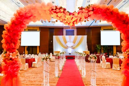 destination wedding: Wedding setting in a restaurant. Editorial