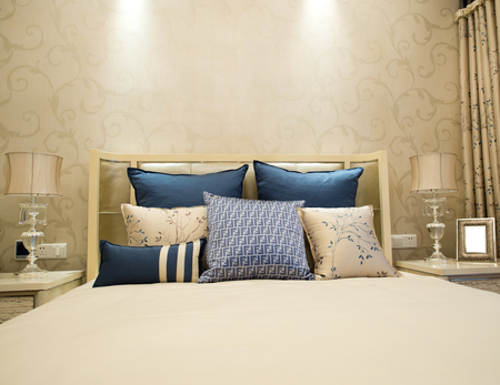upscale: Image of comfortable pillows and bed. Editorial