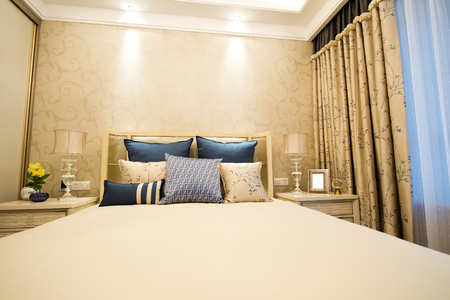 Image of comfortable pillows and bed. Editorial