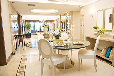 Modern dining room in a luxury home.