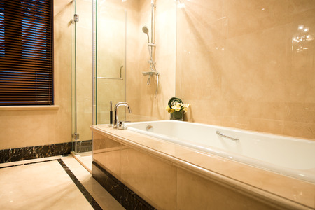Beautiful bathroom in a luxurious hotel room.