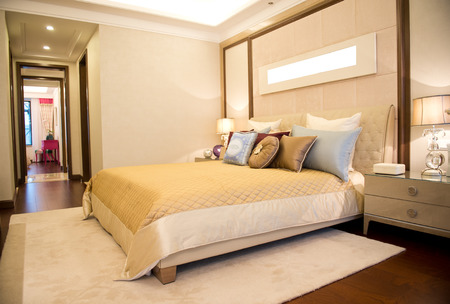 Comfortable bedroom in a luxury home.