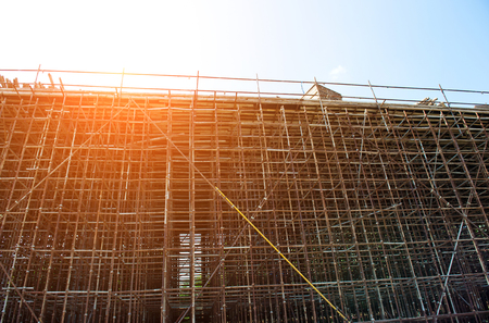 buildingsite: Temporary scaffold for construction works. Stock Photo