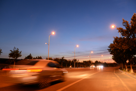 acceleration speed motion on night road Stock Photo