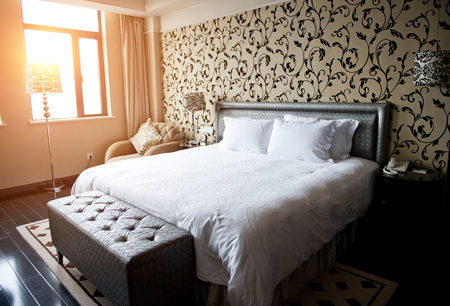 Comfortable bedroom in a hotel. Editorial