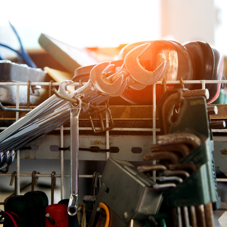 Metal work tools in auto repair shop. Stock Photo