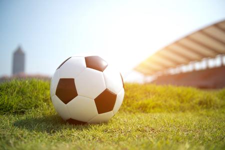 Soccer football on the green grass.