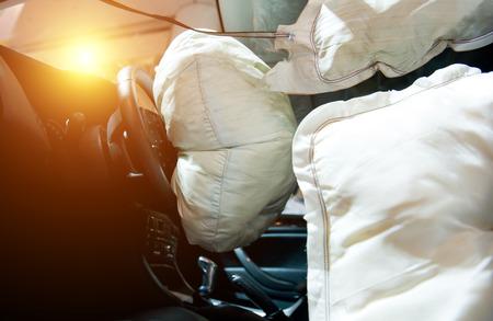 deployed: Air bag deployed after car wreck aftermath.