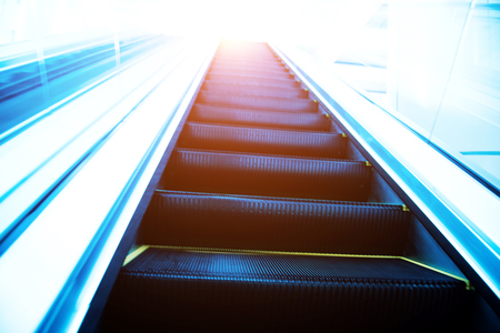 escalator in new modern building. Stock Photo