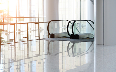Escalator in modern office building. Editorial