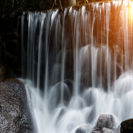 water flowing over falls, long time exposure