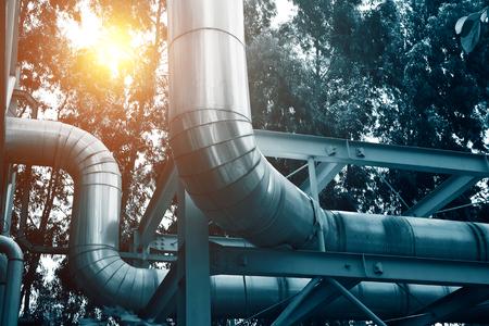 Steel pipelines in a industrial zone.