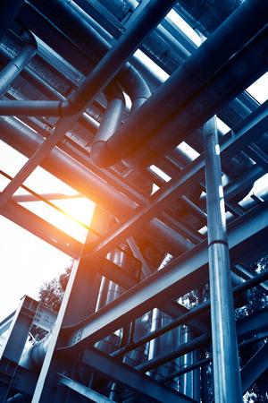 globalwarming: Steel pipelines in a industrial zone.