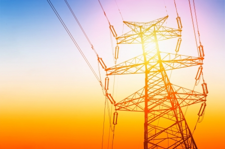 utility: high voltage post High-voltage tower sky background