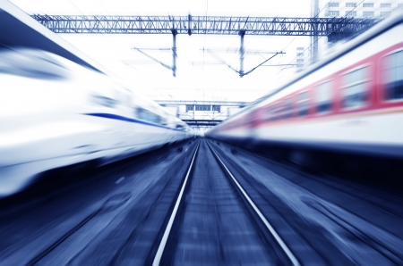 bullet train: two modern high speed train with motion blur