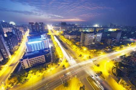 Aerial view of city night Stock Photo - 16027520
