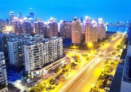 huang pu: Aerial view of city night